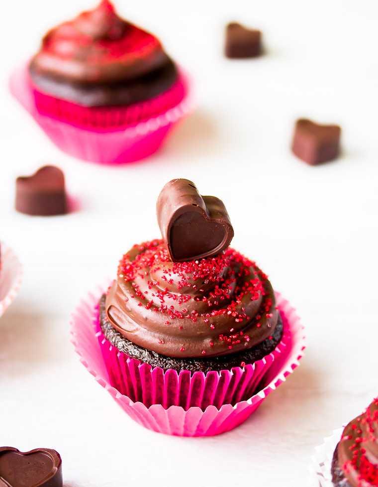 Chocolate cupcake with chocolate love heart.