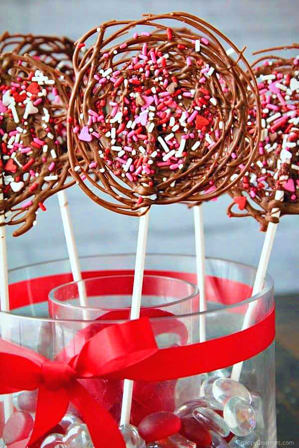 Chocolate Lollipops with Sprinkles.